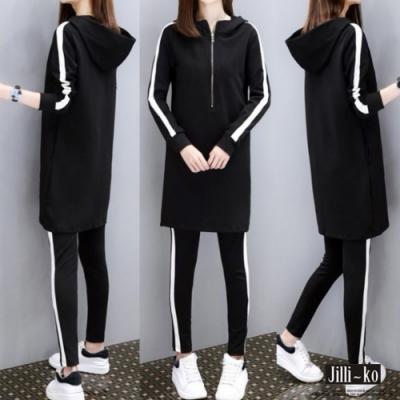 JILLI-KO 長版連帽T跳色條紋褲兩件式套裝- 黑