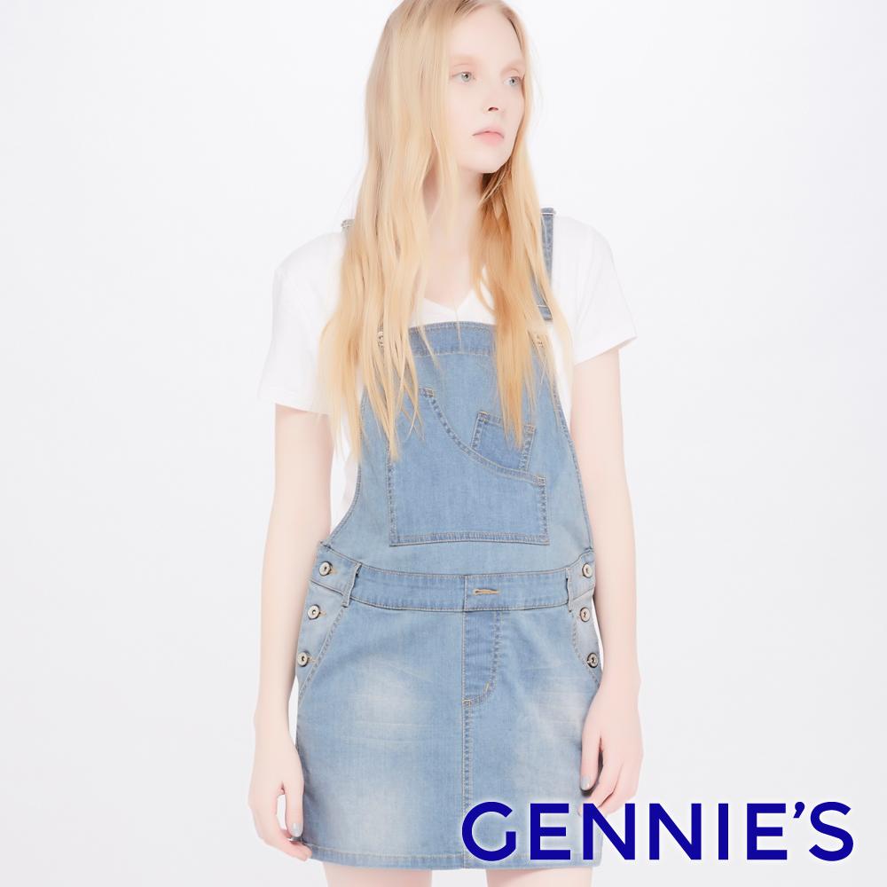 Gennies專櫃-質感刷色牛仔吊帶裙(TJE02)-黑