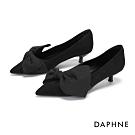達芙妮DAPHNE  跟鞋-復古拚接結飾尖頭跟鞋-黑