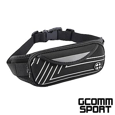 GCOMM SPORT 雙袋防汗水音樂運動腰包 直條銀