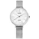 ALBA 幾何時尚 藍寶石水晶玻璃 米蘭編織不鏽鋼手錶-白色/34mm