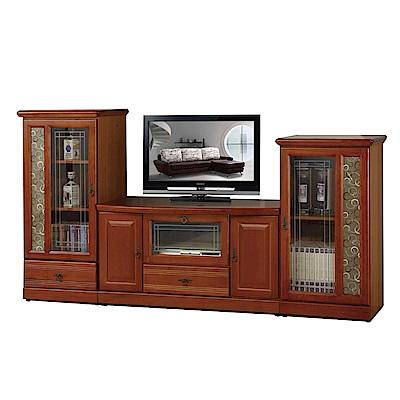 綠活居 泰坦8尺實木電視櫃組合(高低櫃+二色)-240x45x123cm-免組