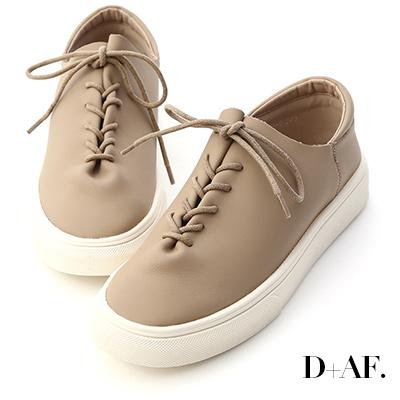 D+AF 愜意好穿.超軟皮革綁帶休閒鞋*杏