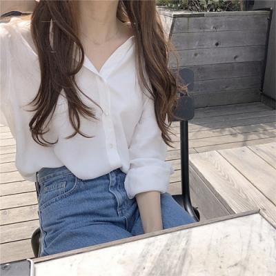 【KISSDIAMOND】復古港味方領長袖襯衫(簡約/百搭/舒適/KDT-8915)
