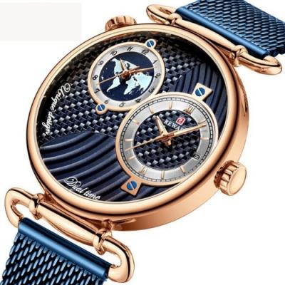 美國熊 日本石英機心 GMT兩地時間顯示 商務男士腕錶