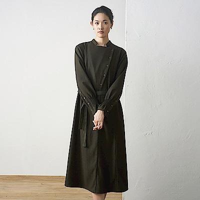 旅途原品_塵事_原創設計復古斜門襟中長款連衣裙-墨綠色