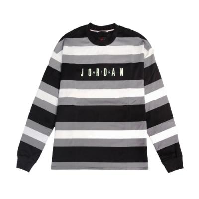 Nike T恤 Jordan Air Tee 男款 喬丹 飛人 長袖 條紋 圓領 黑 白 灰 CV1143010