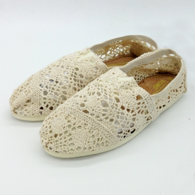 KEITH-WILL時尚鞋館 (現貨+預購) 花樣年華蕾絲鉤花鏤空懶人鞋-米
