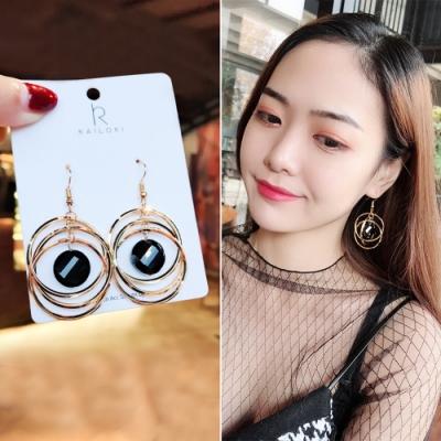 梨花HaNA 韓國黑水晶層次漩渦金圈耳環
