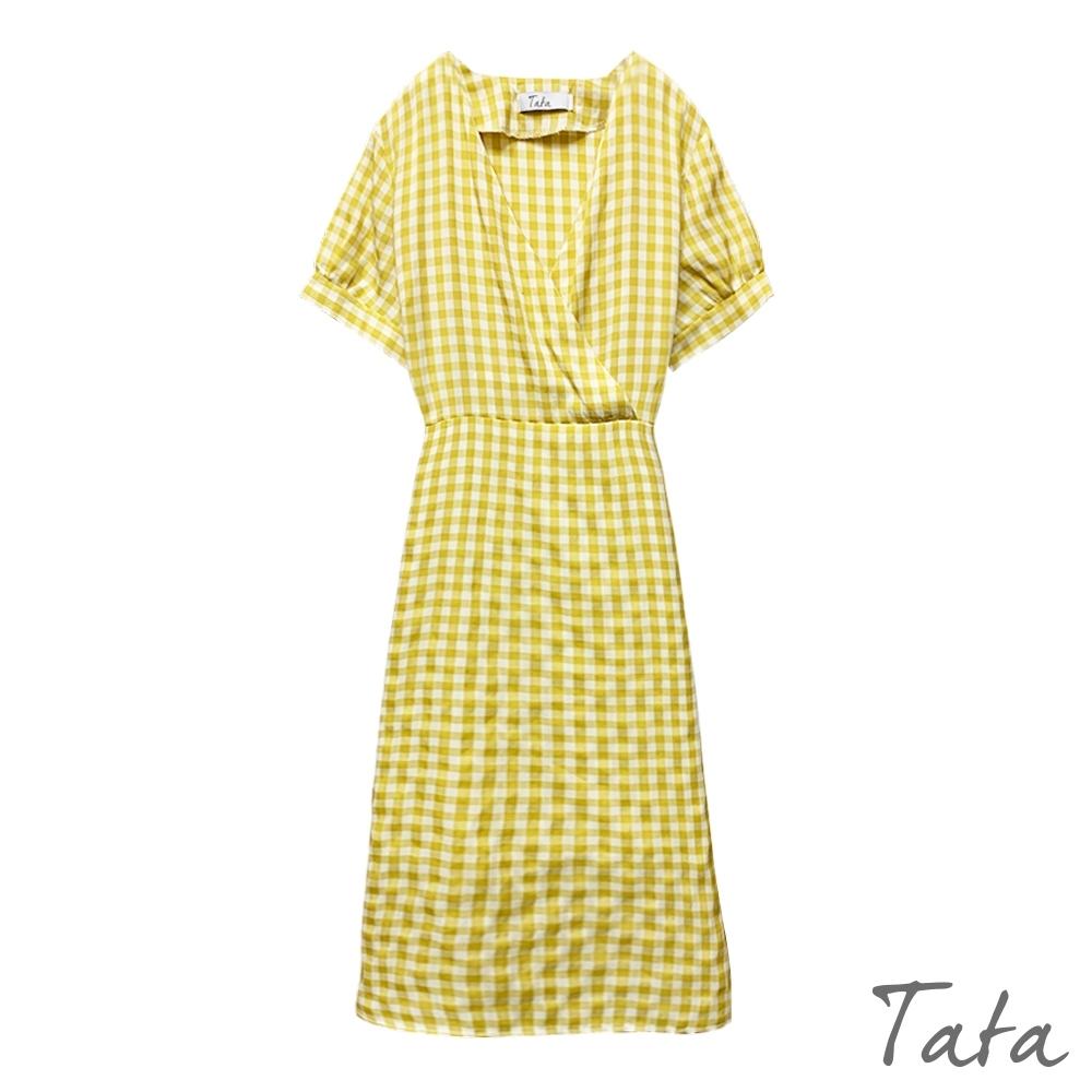 V領格紋繫帶洋裝 TATA-F
