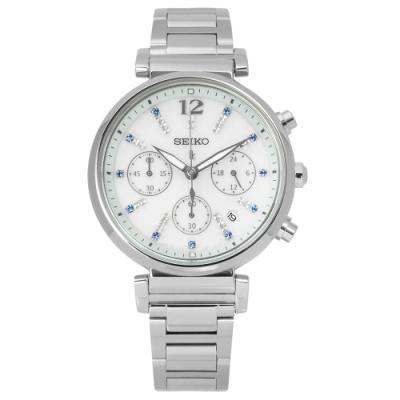 SEIKO 精工 LUKIA 晶鑽 太陽能 日期 不鏽鋼手錶-銀色/36mm