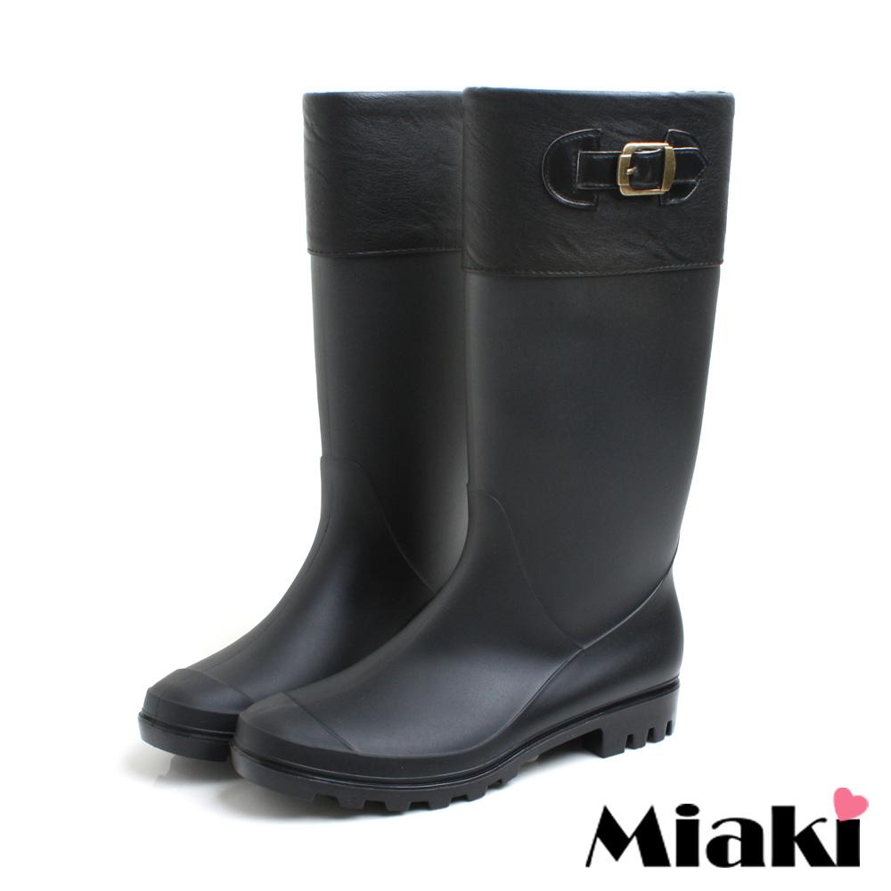 Miaki-雨天首推時尚百搭拼色雨靴-黑
