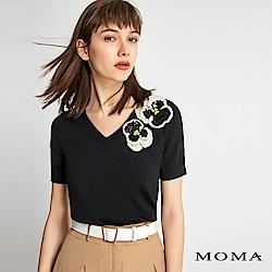 MOMA 花朵V領針織上衣