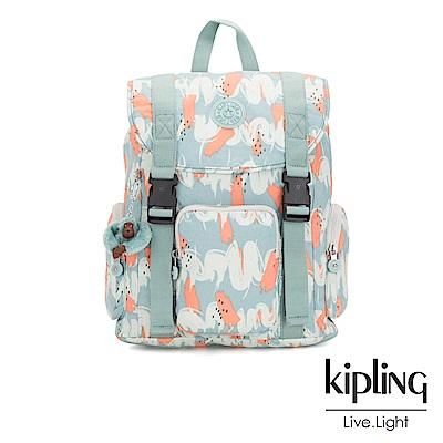 Kipling湖水綠印象派塗鴉插扣束口掀蓋式後背包-IZIR