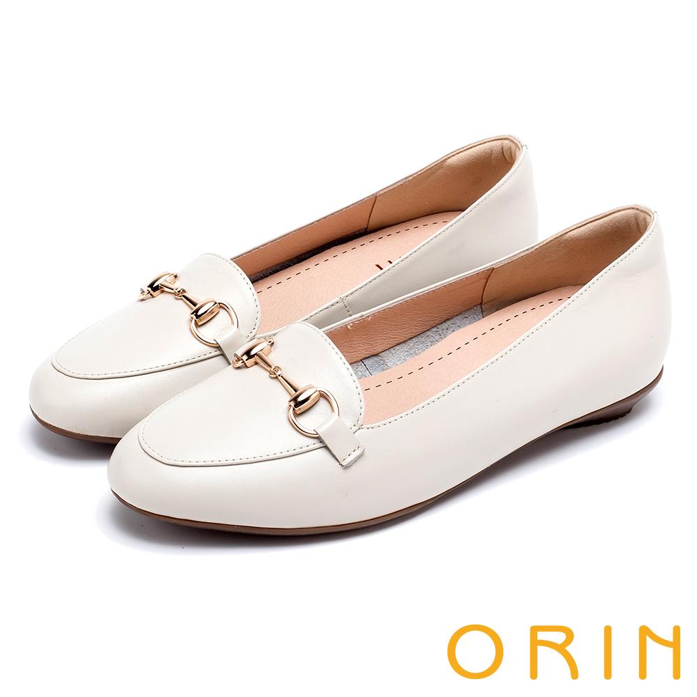 ORIN 氣質馬銜釦牛皮百搭 女 平底鞋 白色