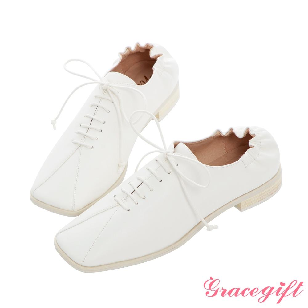 Grace gift X Nina-聯名方頭後抓皺低跟牛津鞋 白