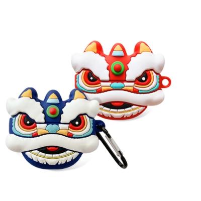 AirPods 1/2 代通用 可愛 喜氣 舞狮 造型 藍牙 耳機 矽膠 造型 保護套 藍色舞狮-AirPods 1/2藍色舞狮*1