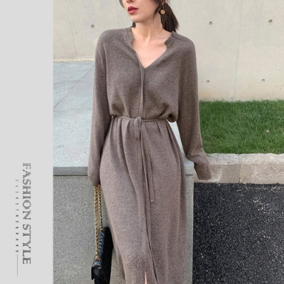 2F韓衣-簡約V領素色綁帶造型洋裝-2色(F)