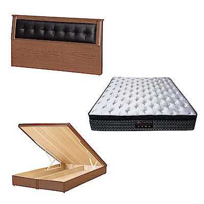 綠活居 亞凱6尺雙人加大床台三式組合(床頭片+後掀床底+抗菌天絲彈簧床墊)五色可選