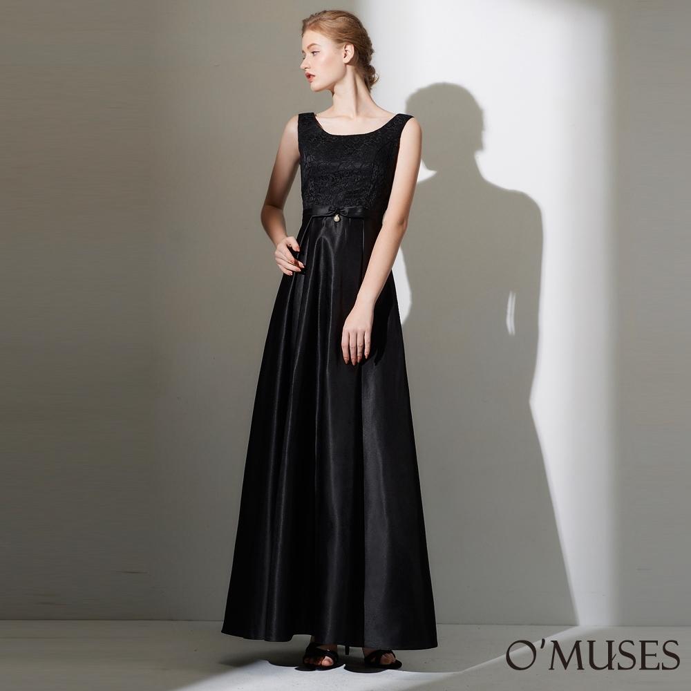 OMUSES 蕾絲拼接緞布長禮服