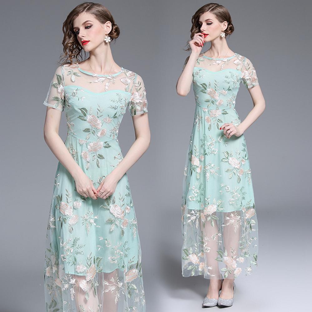 精緻細膩網紗刺繡洋裝S-2XL-M2M