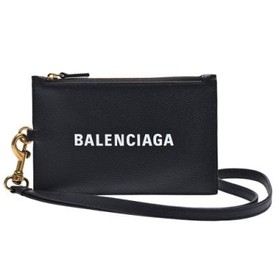 BALENCIAGA 經典品牌字母LOGO掛繩拉鍊零錢包(黑)