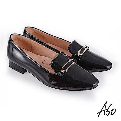 A.S.O 新式復古 嚴選鏡面羊皮金釦裝飾低跟鞋 黑