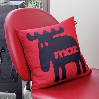 moz瑞典 北歐風雙面抱枕套(經典LOGO-酒紅)45cm