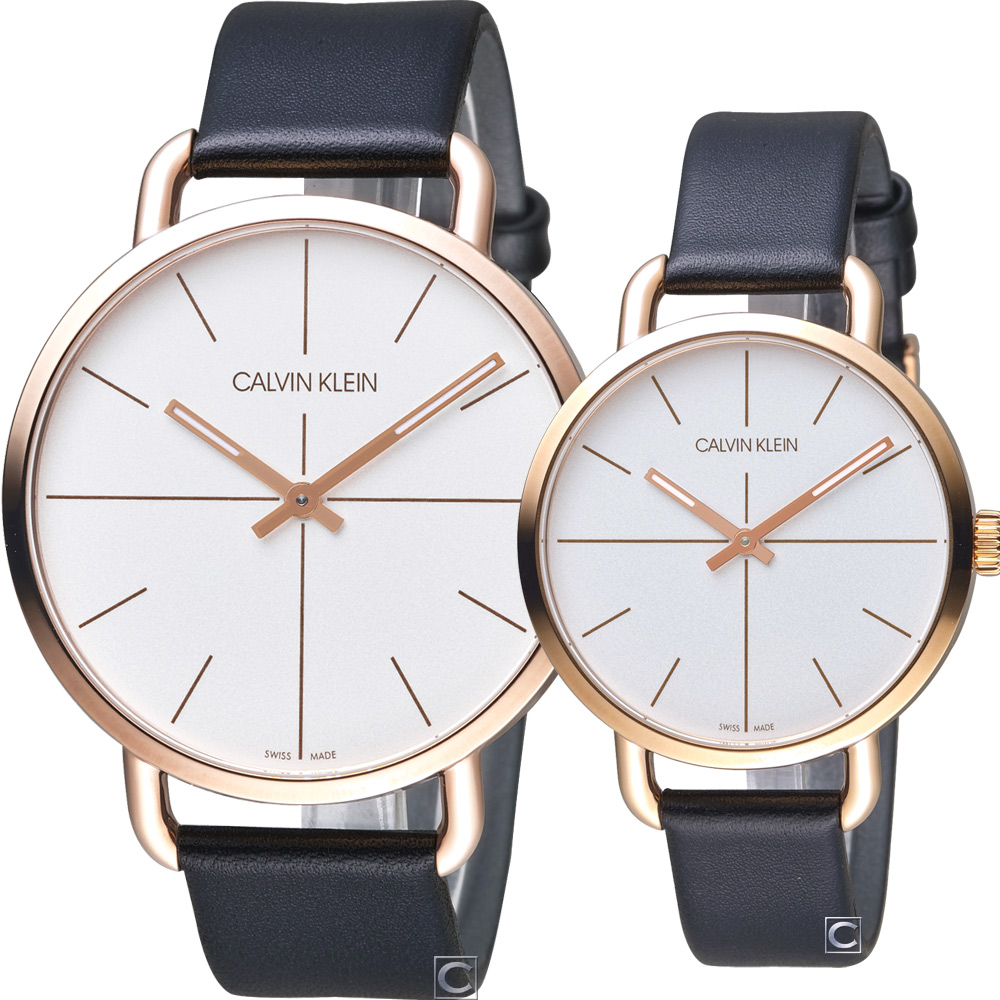 Calvin Klein even 超然時尚對錶(K7B216C6+K7B236C6)