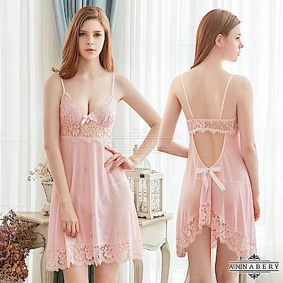 大尺碼 粉紅甜心深V柔紗美背二件式性感睡衣 粉L-2L Annabery
