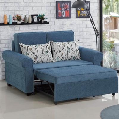 文創集 拉漢現代藍棉麻布二人沙發/沙發床(拉合式機能設計)-162x88.7x88cm免組