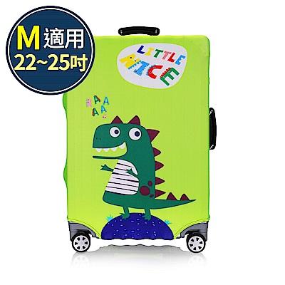 旅遊首選 行李箱套 防塵套 保護套 加厚高彈性伸縮 箱套 M號(恐龍)