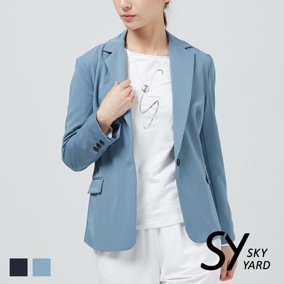 【GABBIANO】單釦修身西裝外套-藍色