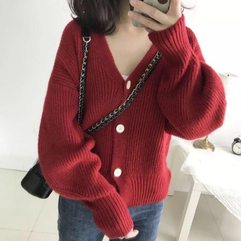 La Belleza素色V領坑條白色鈕釦開釦燈籠袖厚針織毛衣短版外套