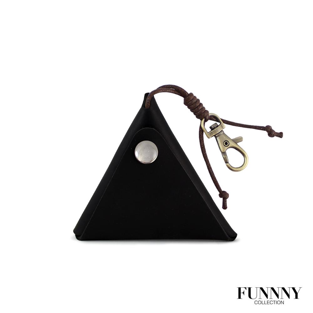 FUNNNY 真皮實用三角型 零錢/鑰匙 收納包 中居 瑛 黑
