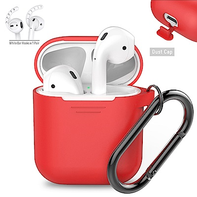 AHAStyle PodFit 2.0 - AirPods 專用矽膠掛鉤款保護套 紅色