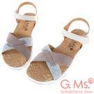 G.Ms. MIT系列-超輕量牛皮交叉休閒厚底涼鞋-米白