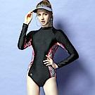 沙兒斯 泳裝 防曬防寒連身三角式女泳裝