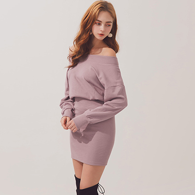 AIR SPACE 簡約純棉一字領合身洋裝(紫)