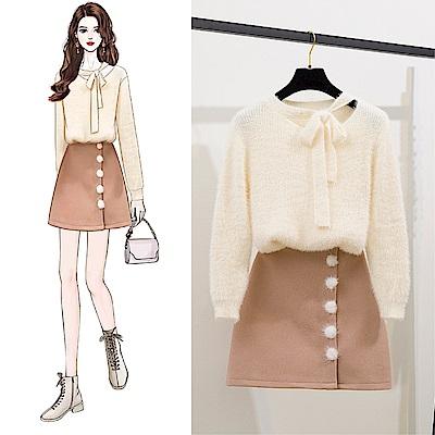 DABI 韓系馬海毛蝴蝶結鏤空毛球半身裙套裝長袖裙裝
