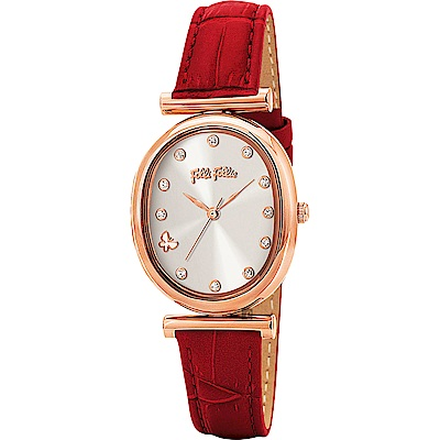 Folli Follie 希臘晶鑽情人優雅女錶-玫塊金框x紅錶帶/28mm