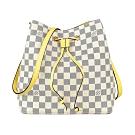 LV N40151 NEONOE棋盤格LOGO DAMIER AZUR帆布束口斜背包(黃)