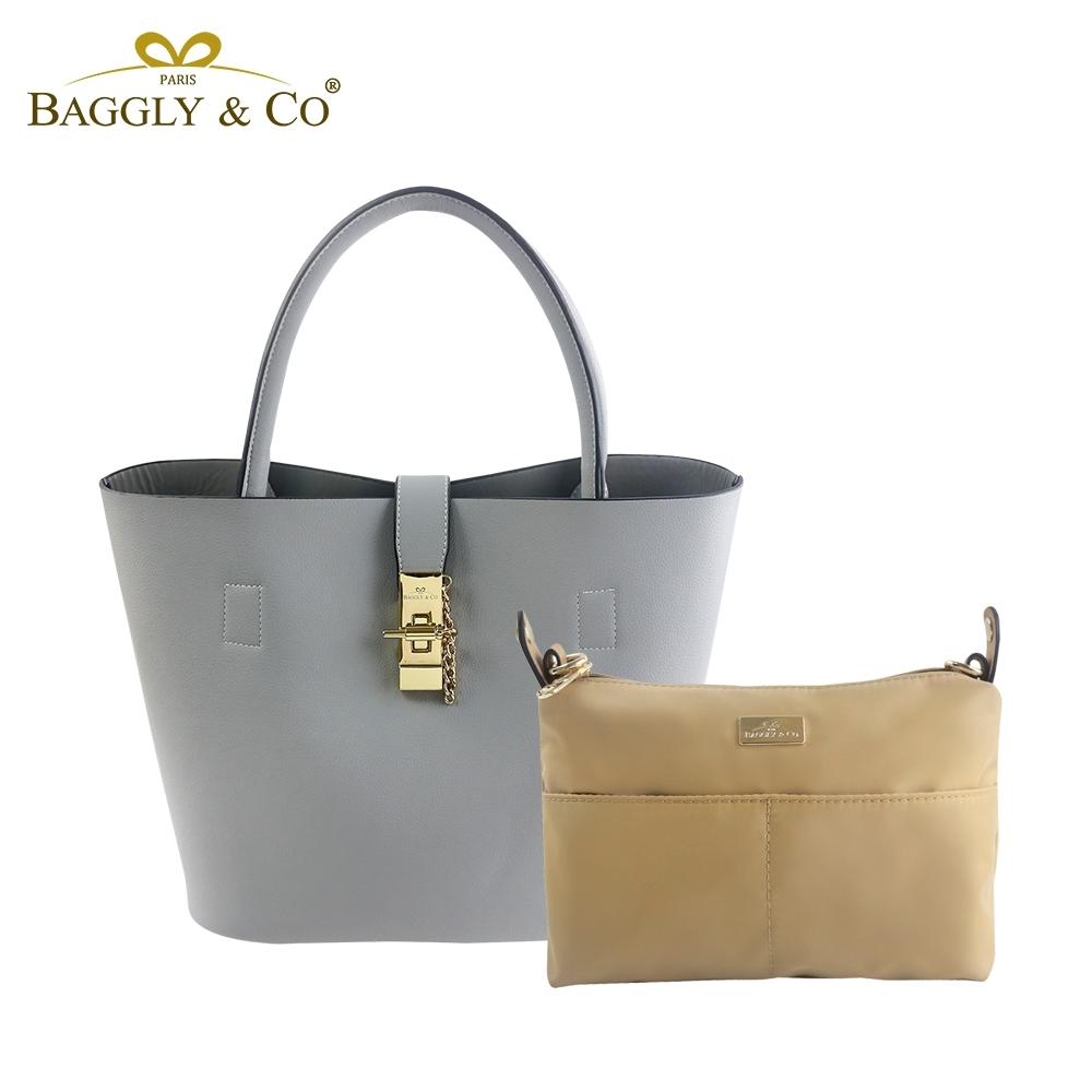 【BAGGLY&CO】香榭夢幻托特水桶包超值二件組(灰藍色)