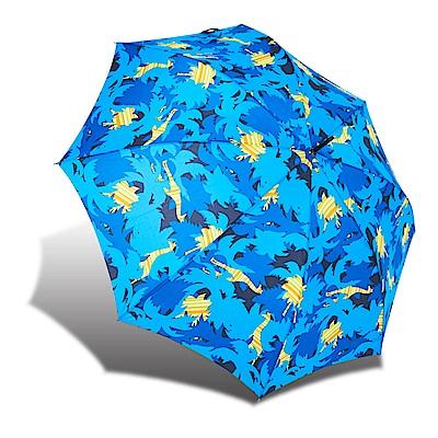 RAINSTORY 叢林迷彩 抗UV自動開直骨傘-藍