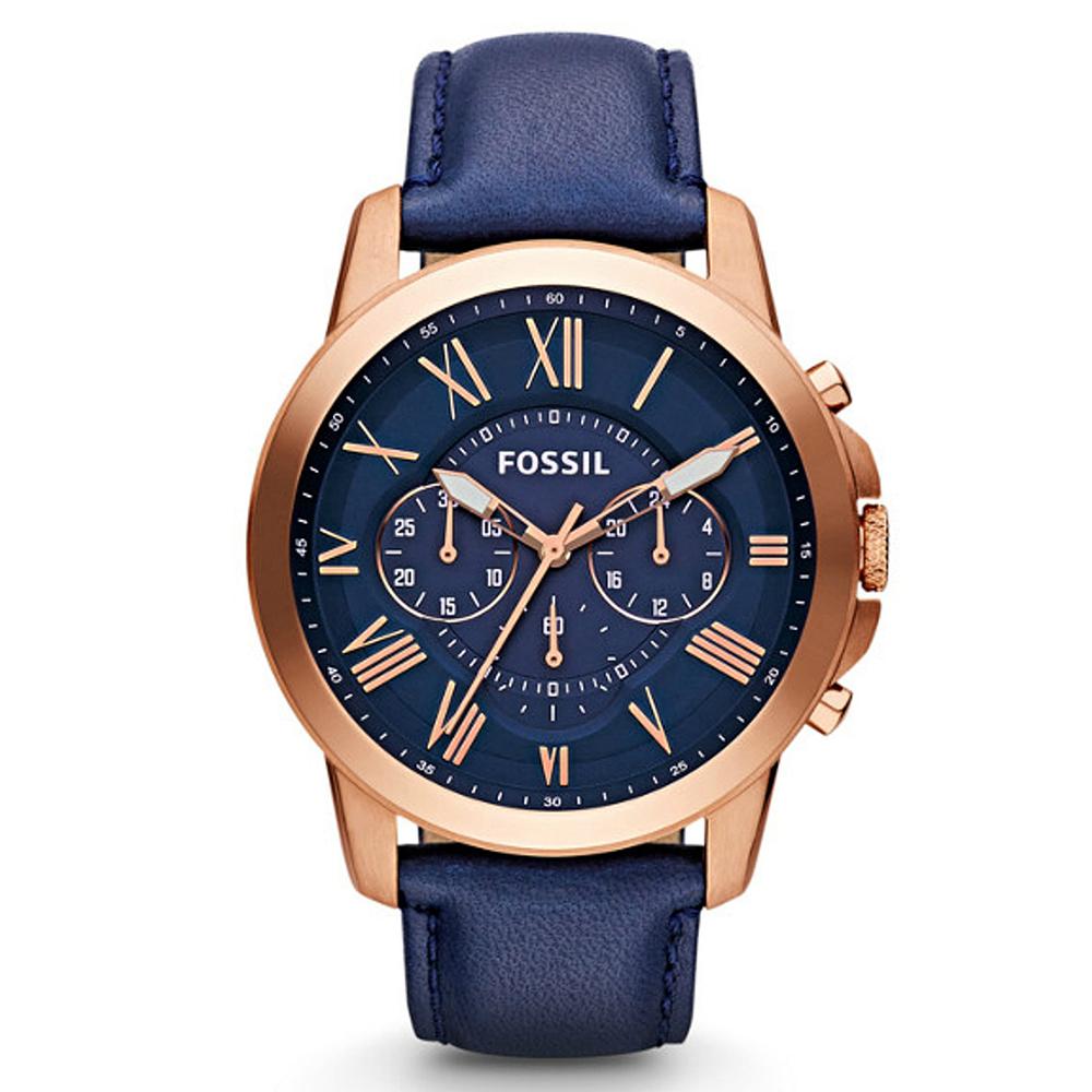 FOSSIL 博雅男爵羅馬時標精緻皮革腕錶(FS4835)-藍x44mm