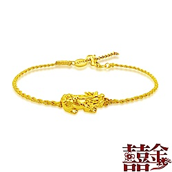 囍金 招財貔貅 999千足金金絲繩手鍊