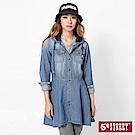 5th STREET 休閒連帽開襟式 牛仔洋裝-女-中古藍