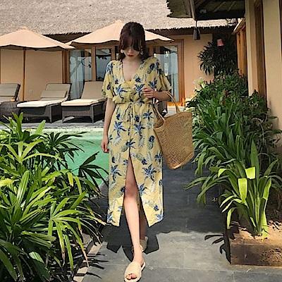 AH dream夢想女孩 黃色水果印花綁帶罩衫洋裝C6296