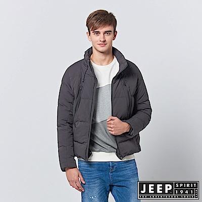 JEEP 型男立領羽絨短版外套-深灰