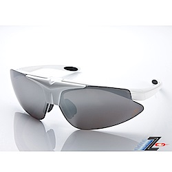 【Z-POLS】MIT頂級可掀設計質感白搭配帥氣水銀黑防爆片頂級運動眼鏡